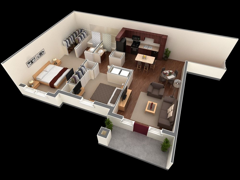 Free 3D Floor Plan... Free Lay Out Design For Your House Or Apartment...  Get Inspiration From These Free Online 3D Floor Plan