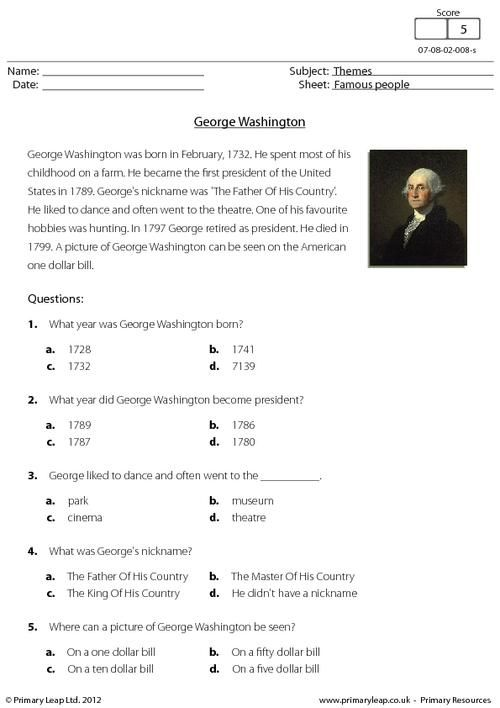 Primaryleap Co Uk Comprehension George Washington Worksheet