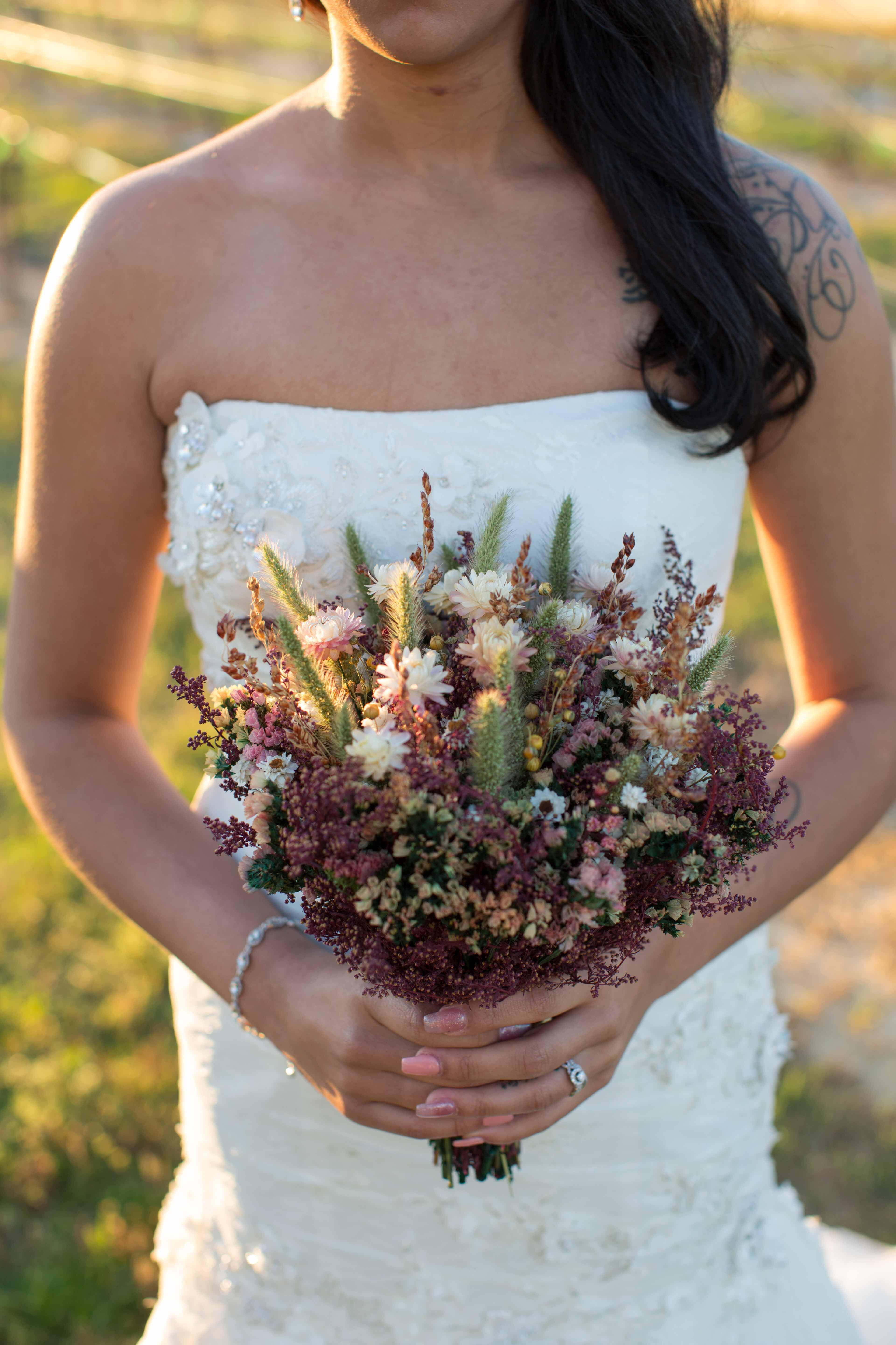 SHABBY and RUSTIC Bridesmaid Dried Flower Bouquet - Burgundy and ...