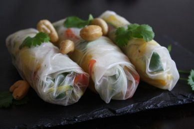 Veggie Rice Rolls. Beautiful and they taste better than the deep fried variety.
