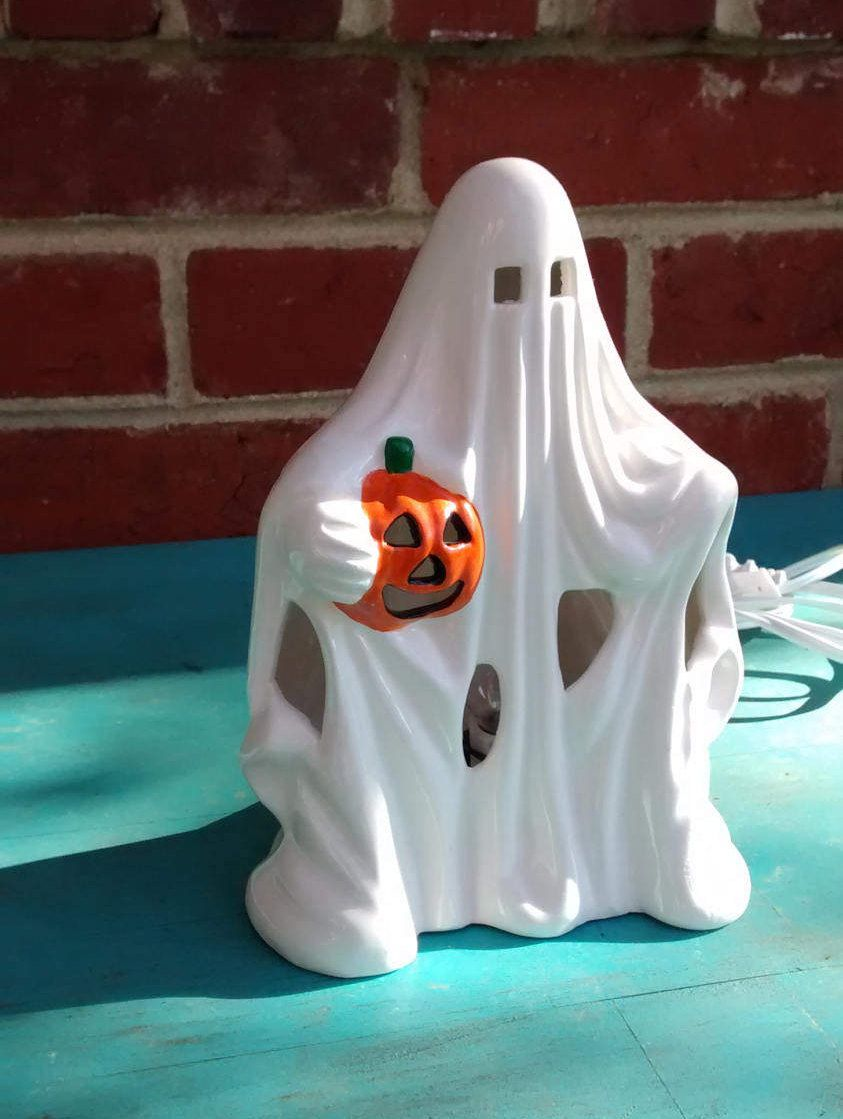 Ceramic Ghost Light Halloween Lamp Vintage Decoration Electric With Pumpkin