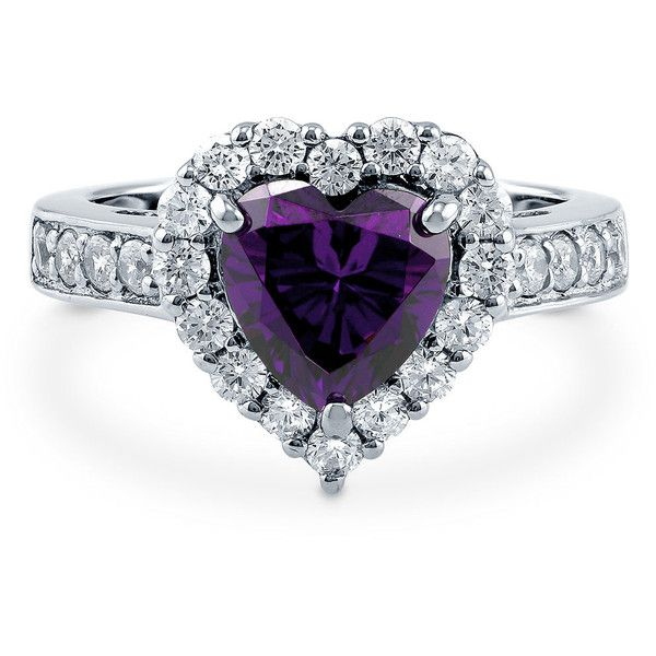 Silver 2.43 CT Heart Shaped Simulated Amethyst CZ Halo  Promise... ($50) ❤ liked on Polyvore featuring jewelry, rings, amethyst, sterling silver, women's accessories, heart shaped engagement rings, cubic zirconia wedding rings, fake engagement rings, cubic zirconia engagement rings and engagement rings