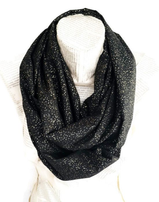 95b83304d Gold Black Scarf, Shiny Scarf, Gold and Black, Infinity Scarf, Women  Accessoriesi, Shimmer Scarf