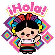 Hola Mexico Lindo Http Www Line Stickers Com Hola Mexico Lindo Mexican Doll Mexican Art Line Sticker