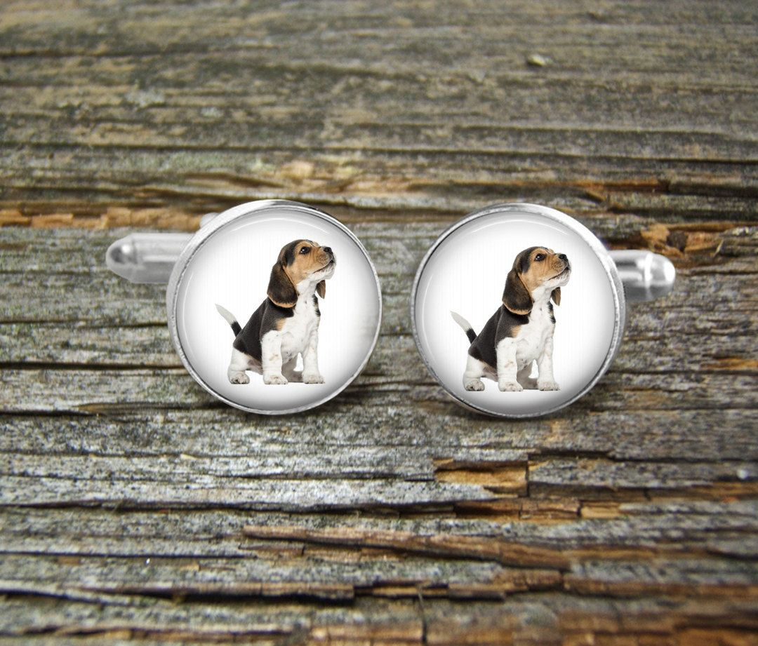 Dog Beagle Puppy Cufflinks Wedding Jewelry Box Silver Man
