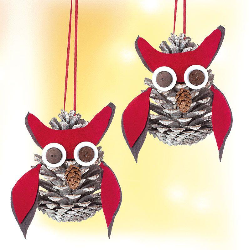 kostenlose anleitung zapfen eulen basteln eule owls. Black Bedroom Furniture Sets. Home Design Ideas