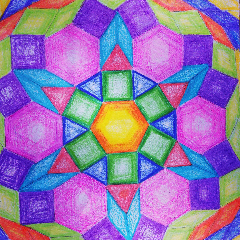 Pattern block math kaleidoscope project. 6th grade math project for ...
