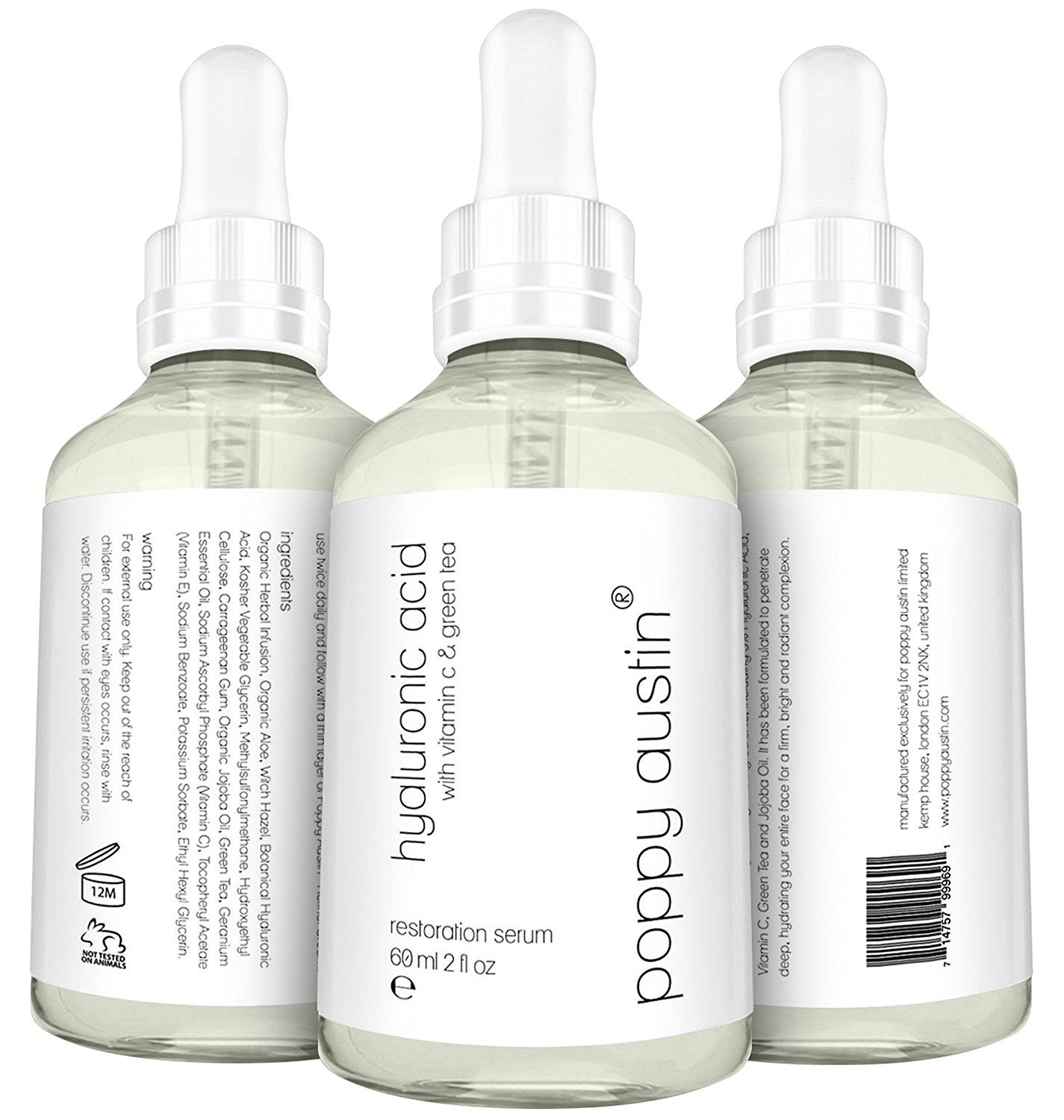 Poppy Austin Hyaluronic Acid Serum for Skin with Vitamin C, Green Tea and Jojoba Oil, 2 fl. oz * Startling review available here  : Face treatments and masks