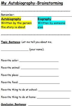 My Autobiography Brainstorming My Autobiography Autobiography Writing Writing Lessons