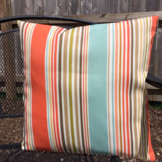 Coastal Pillows, Coral Orange Aqua Blue Brown Stripe Indoor Outdoor Throw Pillow Cushion Cover ...