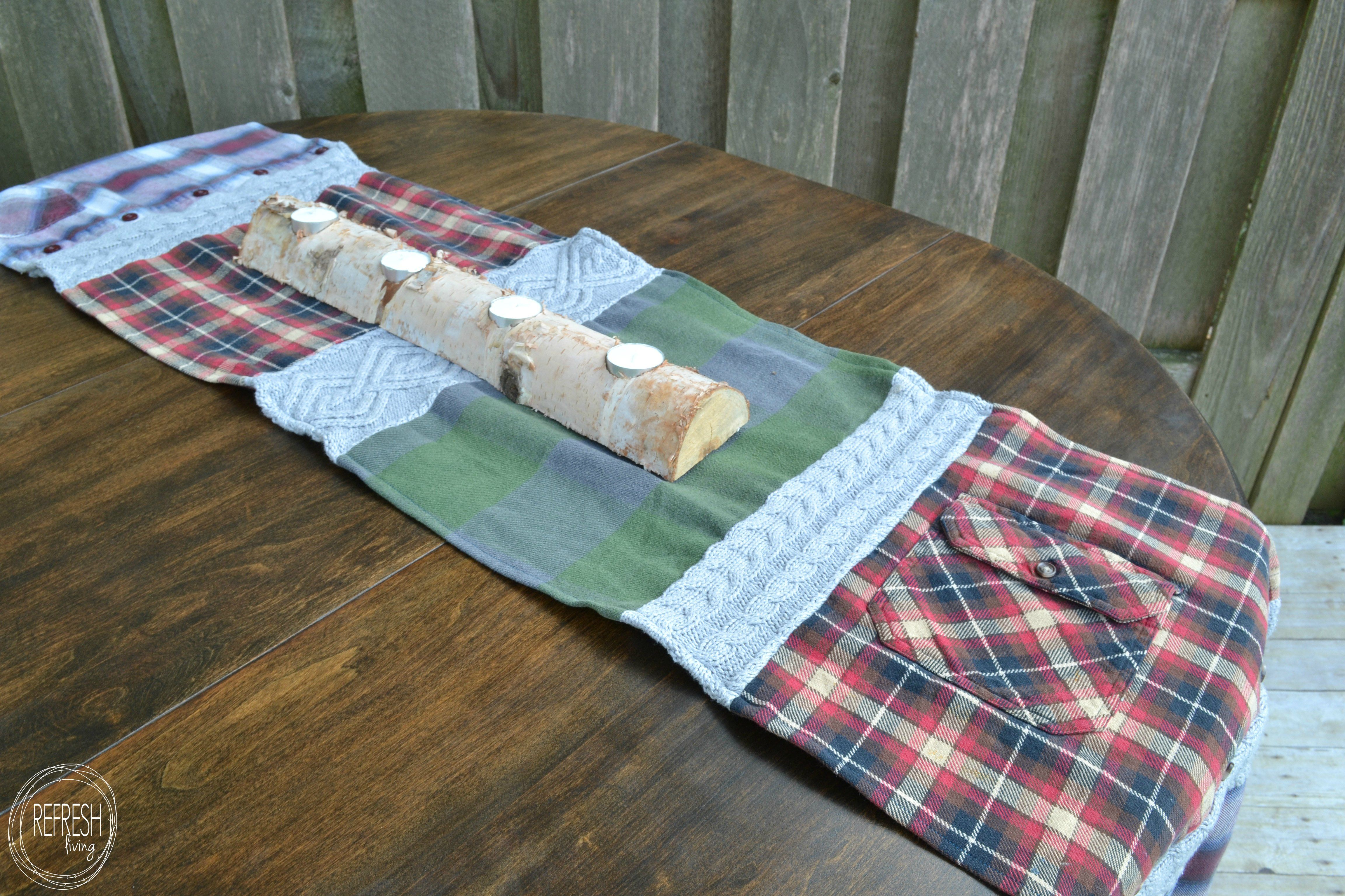 sweater and flannel table runner