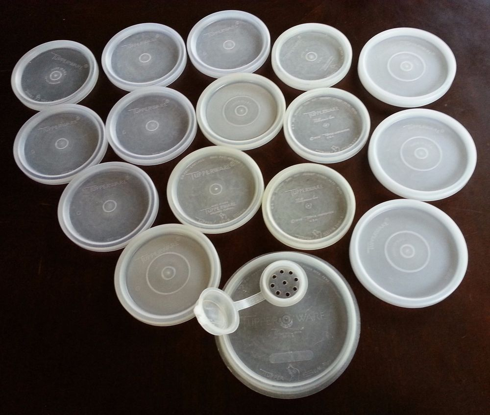 Collection Of 16 Vintage Tupperware Replacement Lids 297 296