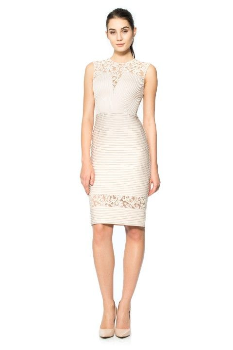 Pintuck Neoprene and Lace Illusion Dress