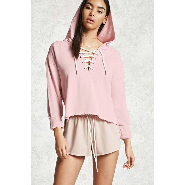 4710cbfdcaa459 Forever21 Lace-Up Cropped Hoodie ( 18) ❤ liked on Polyvore featuring tops
