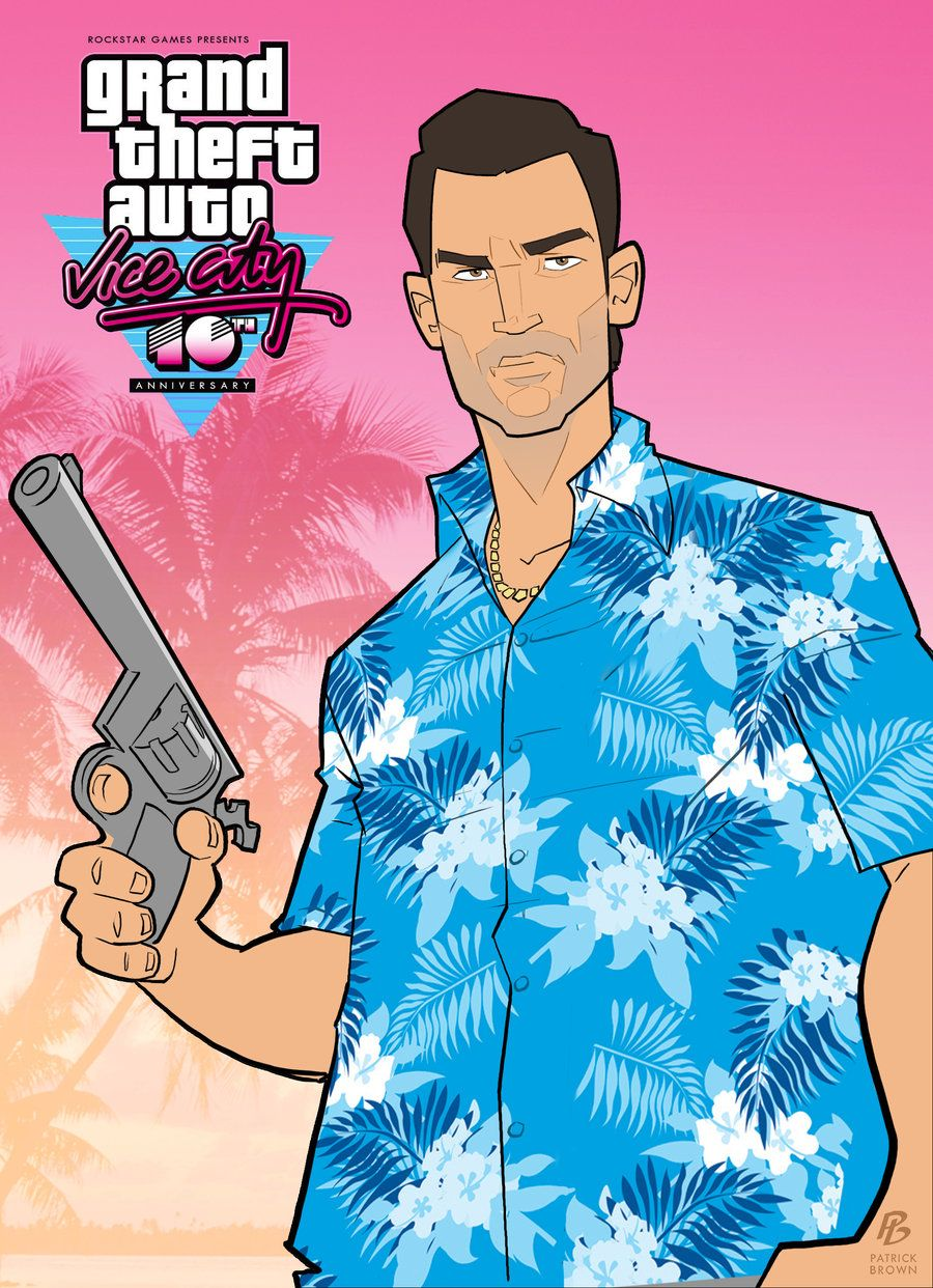Grand Theft Auto Vice City 10th Anniversary By Patrickbrown Deviantart Com Grand Theft Auto Artwork Grand Theft Auto Series San Andreas Gta