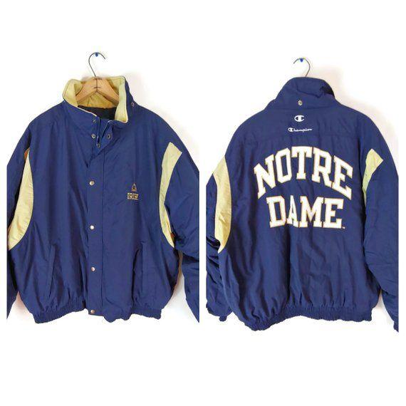 90s Notre Dame Irish Puffer Coat XL Champion Blue Gold