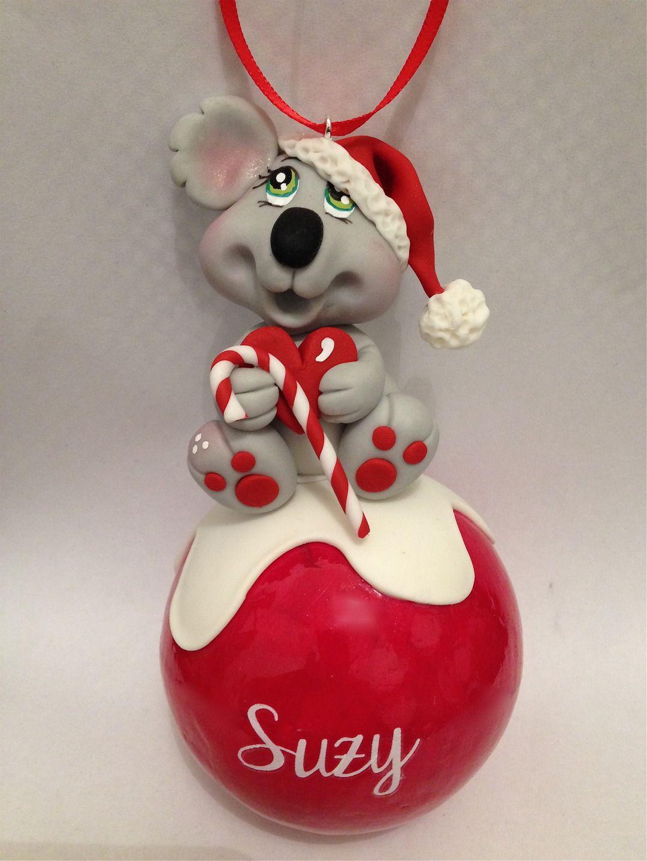 Sur cde : Boule de Noël PRENOM koala personnalisable en porcelaine
