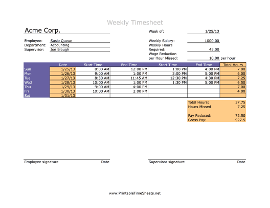 Salaried Employee Weekly Printable Time Sheets Free To Download