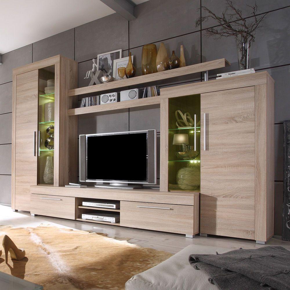 Hochwertig Wohnwand Boom Anbauwand Wohnzimmer Sonoma Eiche Sägerau Inkl. Beleuchtung |  Möbel U0026 Wohnen, Möbel