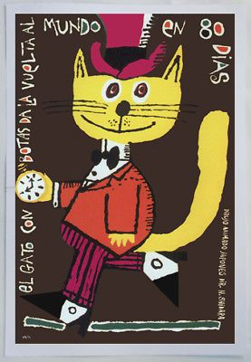 Details About Spanish Movie Poster Yellow Elegant Top Cat 80 Days