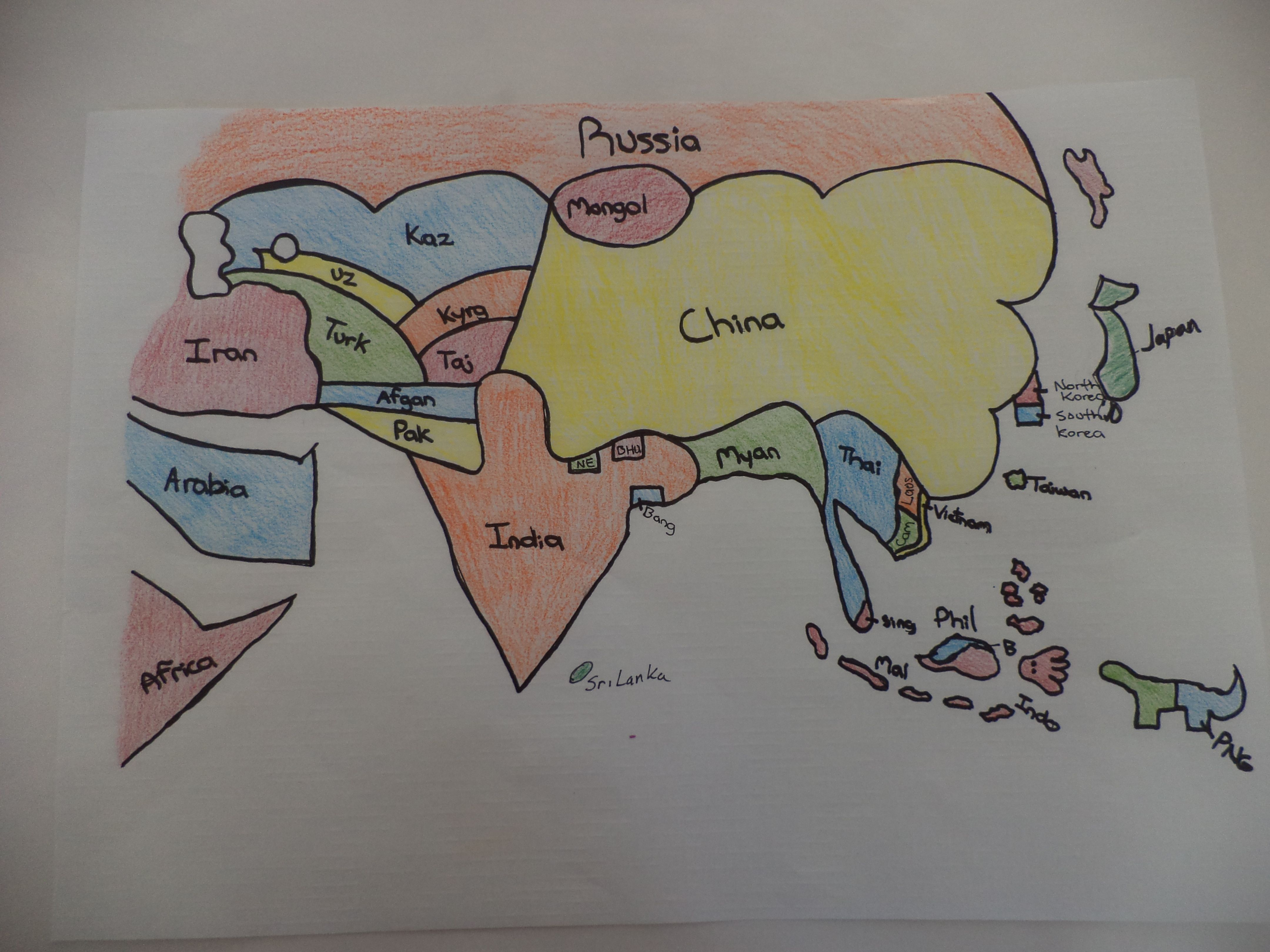 North And South America Blank Map Quiz%0A Tenth grader u    s placemat map of Asia