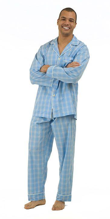 febdb96a47 Lightweight cotton poplin from Bedhead. Perfect for Dad. Bedhead Men s  Light Blue Plaid Fine Cotton Pajama ...