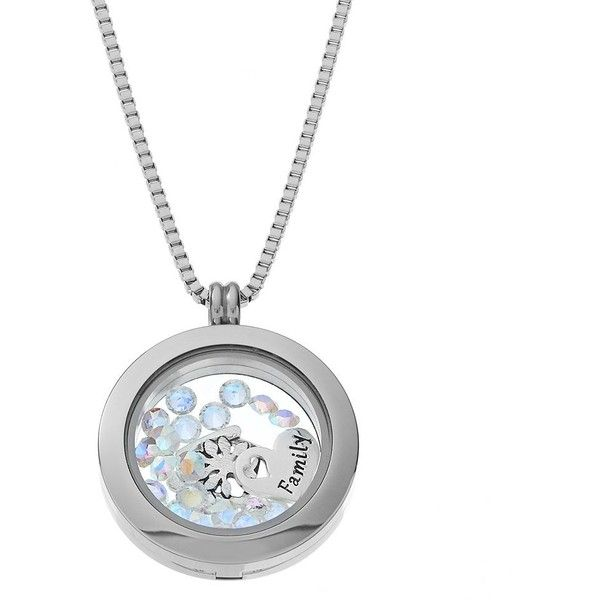"Blue La Rue Crystal Stainless Steel 1-in. Round ""Family"" Charm Locket (1.311.000 IDR) ❤ liked on Polyvore featuring jewelry, pendants, grey, stainless steel charms, locket charms, crystal charms, crystal jewelry and heart jewelry"