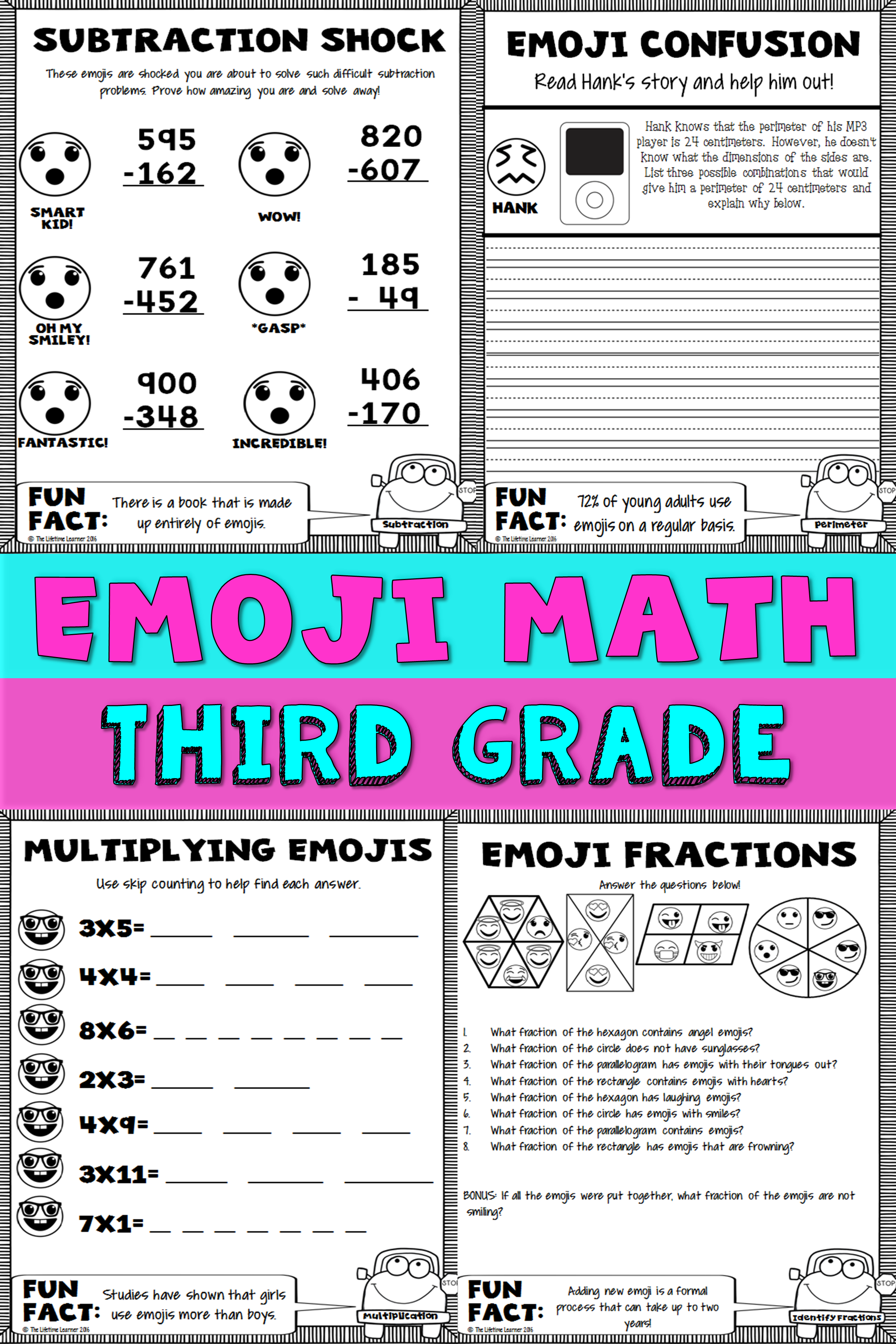 3rd Grade Emoji Math | The Lifetime Learner TpT Products | Third ...