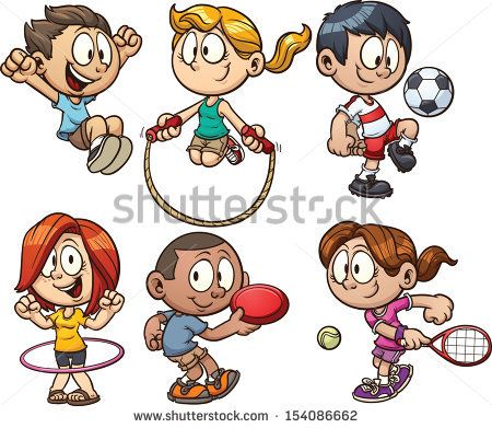 cartoon kids playing vector clip art illustration with simple gradients each on a separate - Cartoon Pictures Of Kids