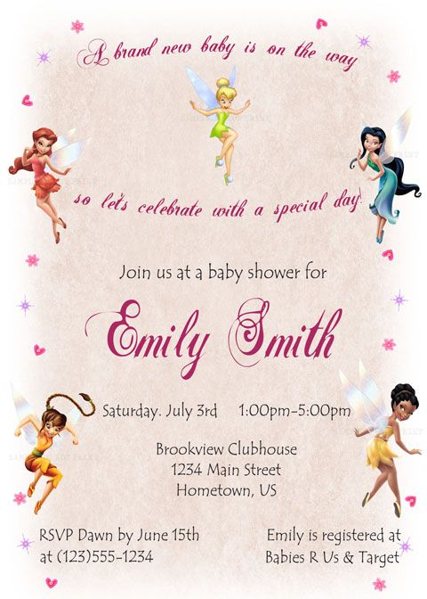 Diy Printable Personalized Tinkerbell Fairies Baby Shower Invitations 12 00