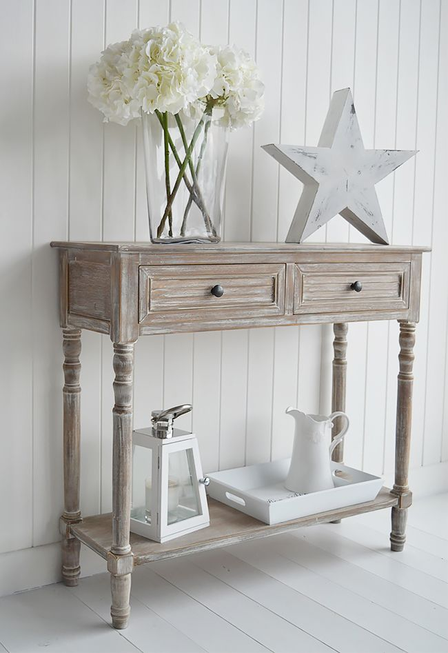 Richmond console table in limed wood with drawers  Range of furniture with  fast delivery from The White Lighthouse  Coastal  Country  Scandi  New  England. Richmond console table in limed wood with drawers  Range of