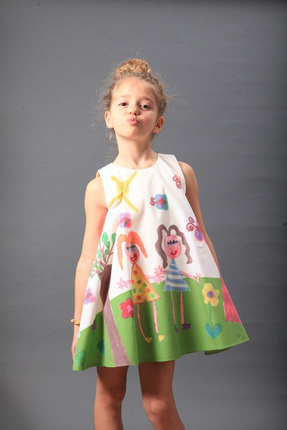 09c92c43d676 Childrens Dress - Hand painted knee over girls dress, boutique dress, girl  dress, toddler girl dress