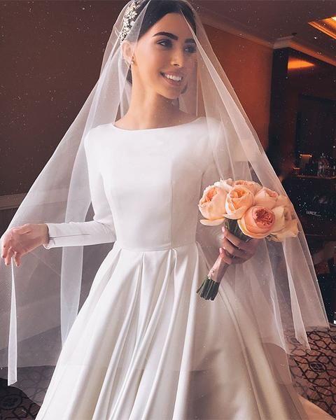 Elegant A-line Long Sleeve Simple Wedding Dresses, FC2027 3