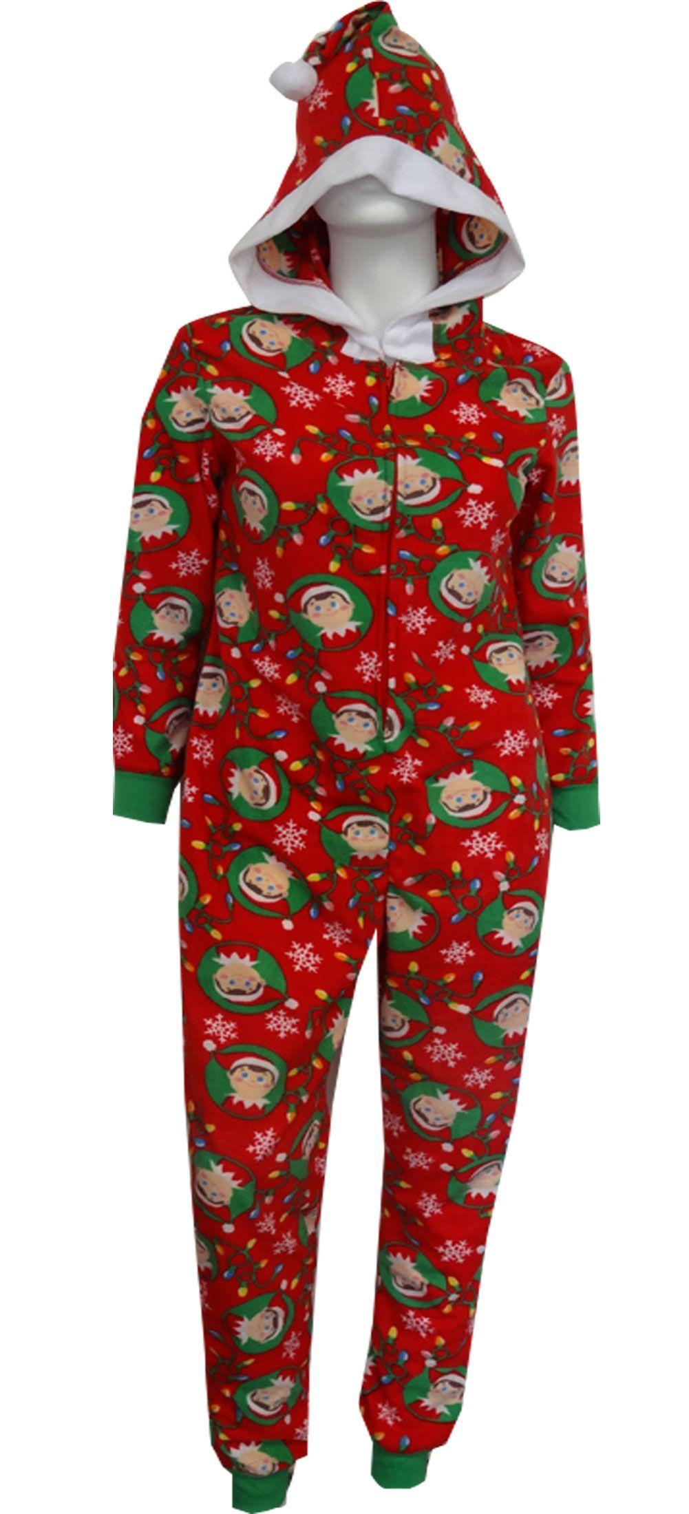 69b4733521 WebUndies.com Christmas is Coming Elf on the Shelf Onesie Adult Pajama