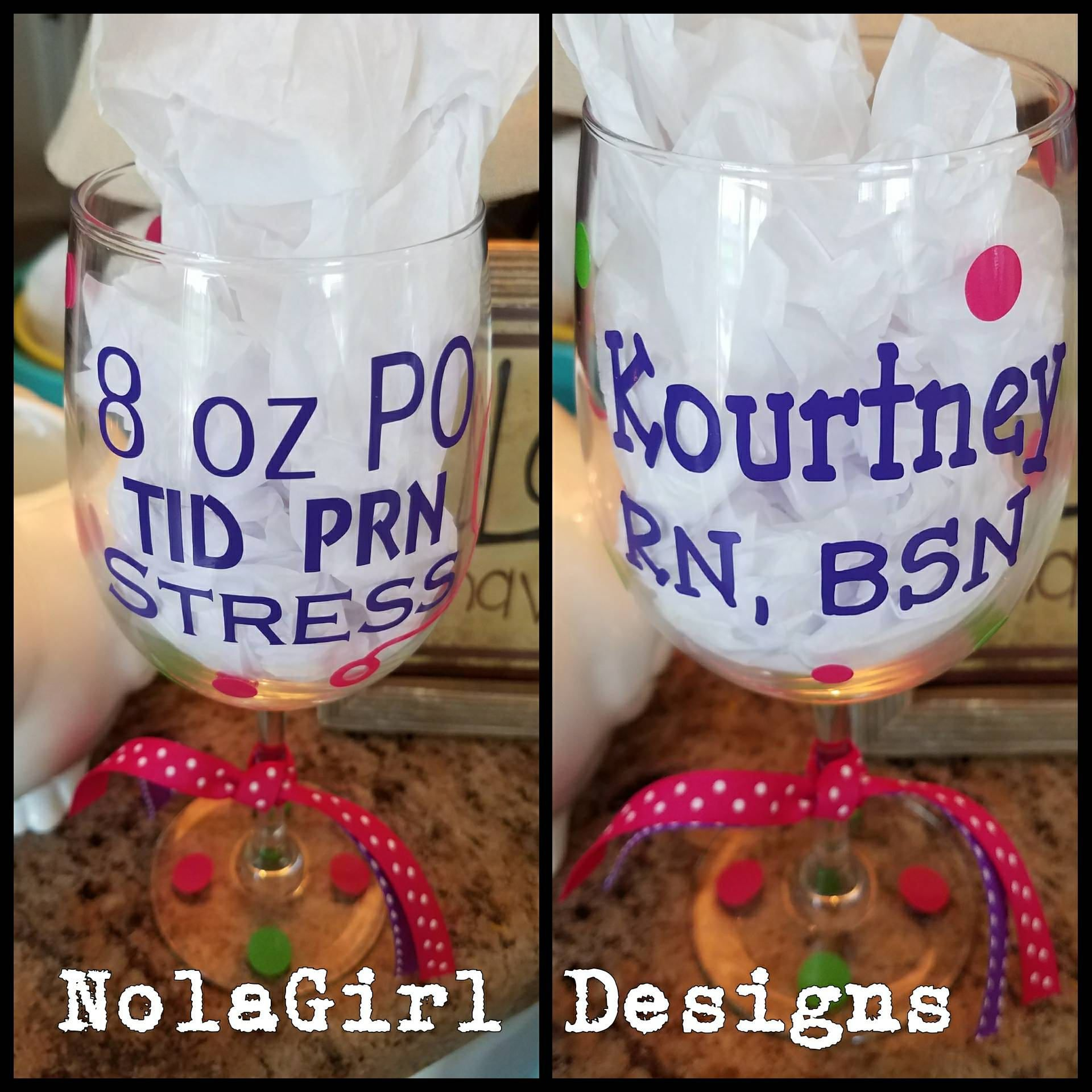 Birthday Gifts Nurses Wine Glass Nursing 8 Oz Po Tid Prn
