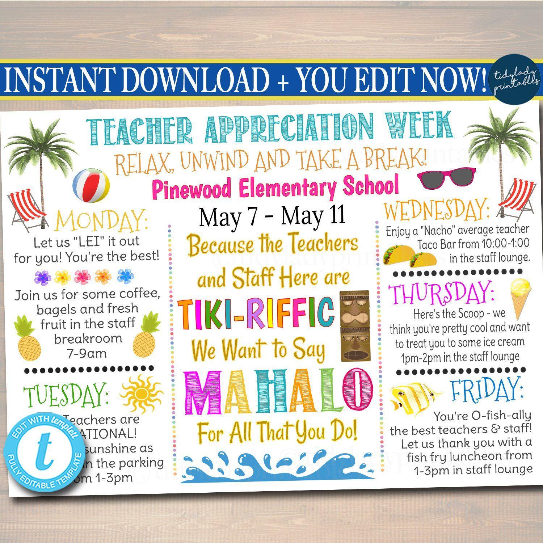 Beach Themed Teacher Appreciation Week Itinerary Poster Hawaiian