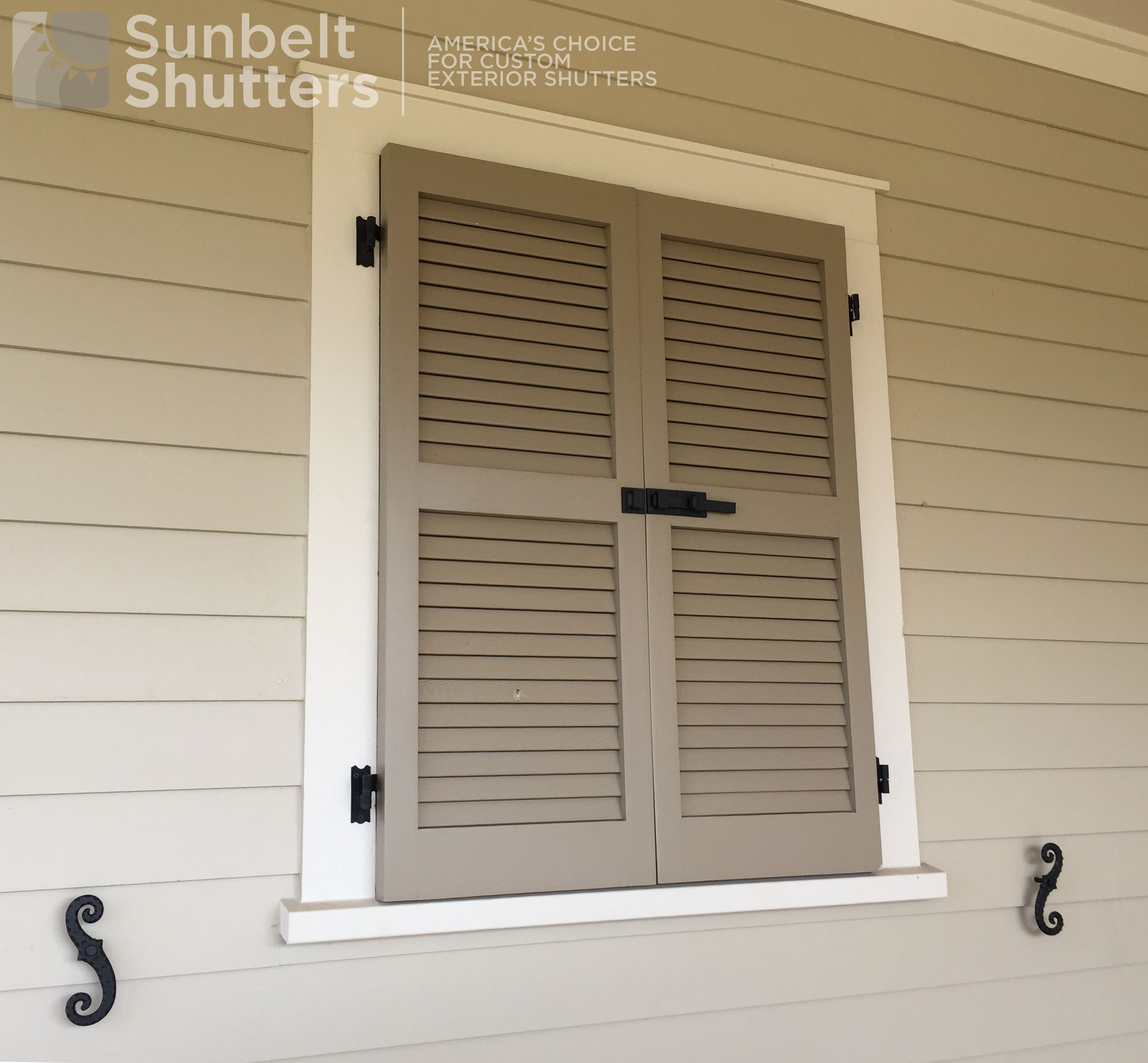 Faux Window With Pine Wooden Louvered Shutters Functional Hinges Tiebacks Slide Bolts Shutters Exterior Louvered Shutters Windows Exterior