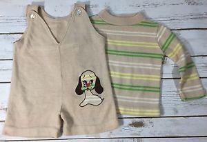 Vintage 70s Baby Boy Beige Sweater Knit Short Romper Stripe Shirt Set Puppy Dog | eBay