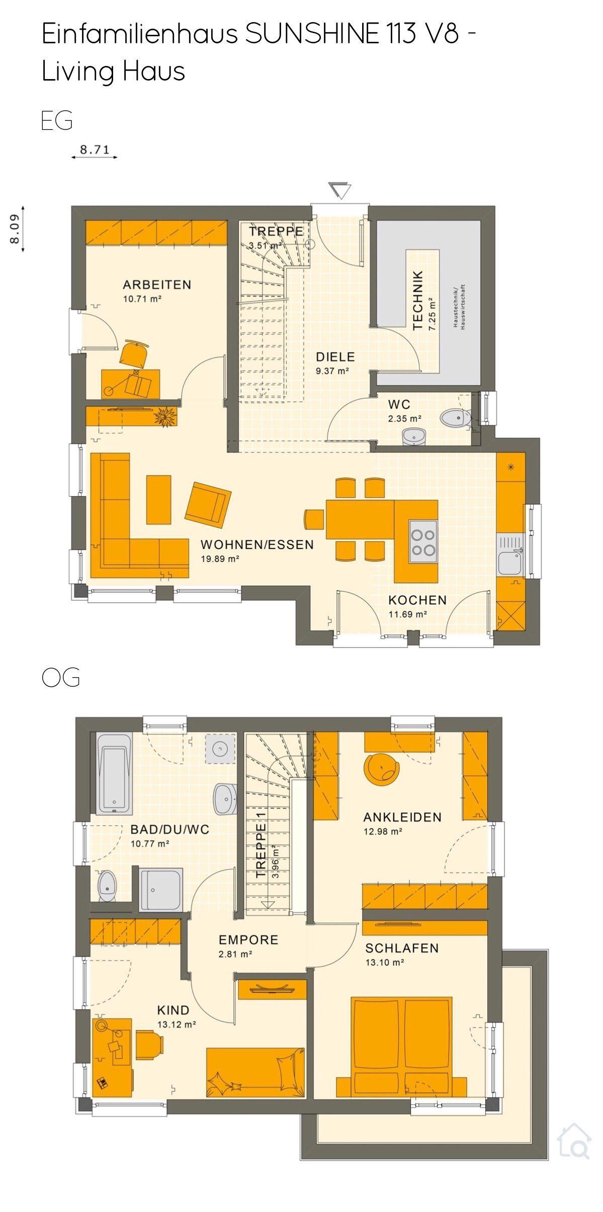 Grundriss Einfamilienhaus Stadtvilla mit Flachdach