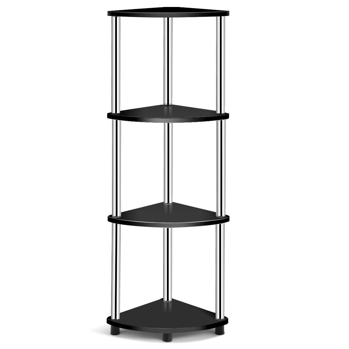 4 Tier Light Duty Living Room Display Stand Corner Shelf Corner Shelves Room Display Shelves