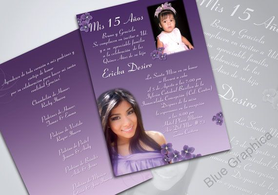 custom photo quinceañera invitation 2 pictures traditional on