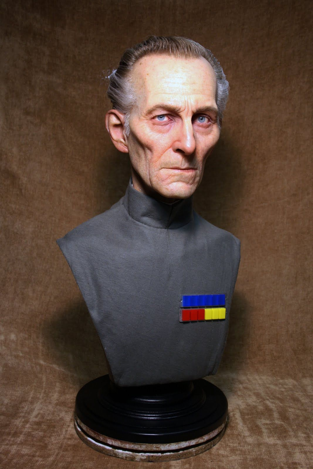 Jordu Schell recently finished this bust of Peter Cushing