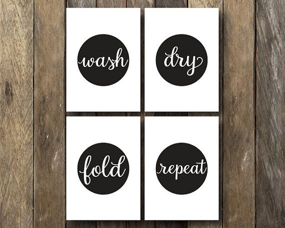 Wash Dry Fold Repeat 5x7 Laundry Room Printables Instant