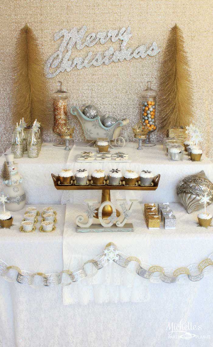 Christmas dessert table decoration ideas - Gold Silver Christmas Dessert Table Via Kara S Party Ideas