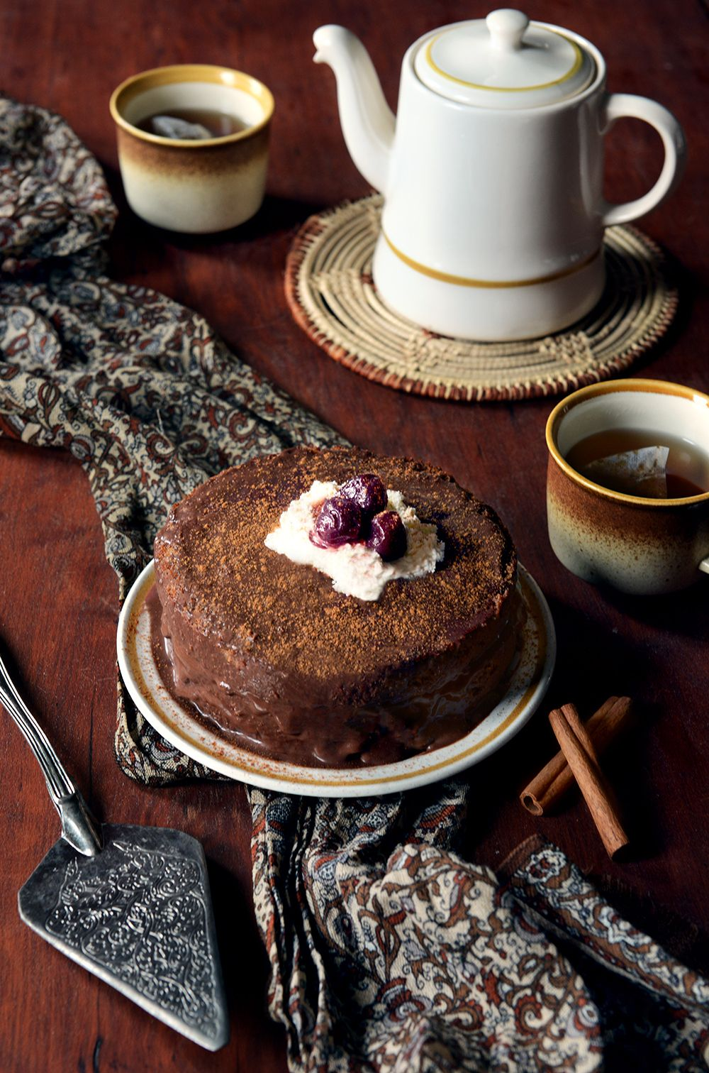 Whole Wheat Cinnamon Spice Layer Cake with Chile Chocolate Sauce   #Coffee