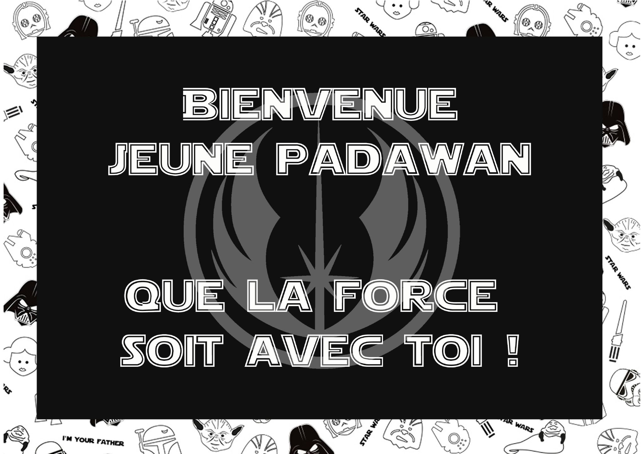 affiche porte d 39 entree jedi starwars party pinterest. Black Bedroom Furniture Sets. Home Design Ideas