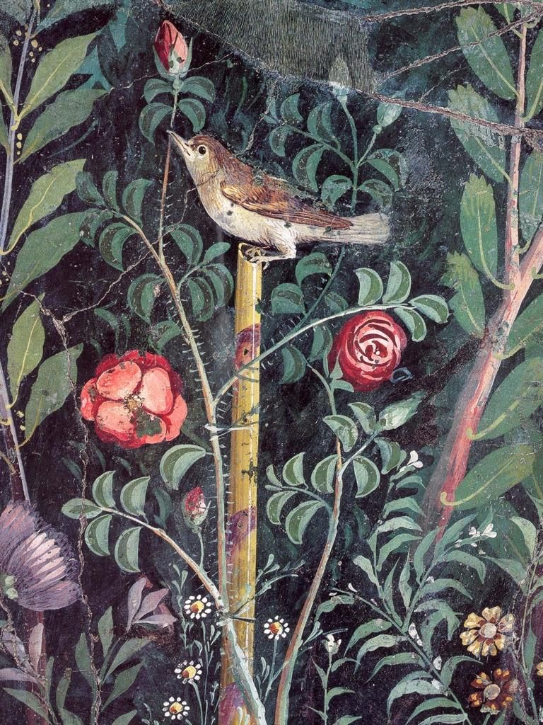 Nightingale with roses fragment of garden mural from the
