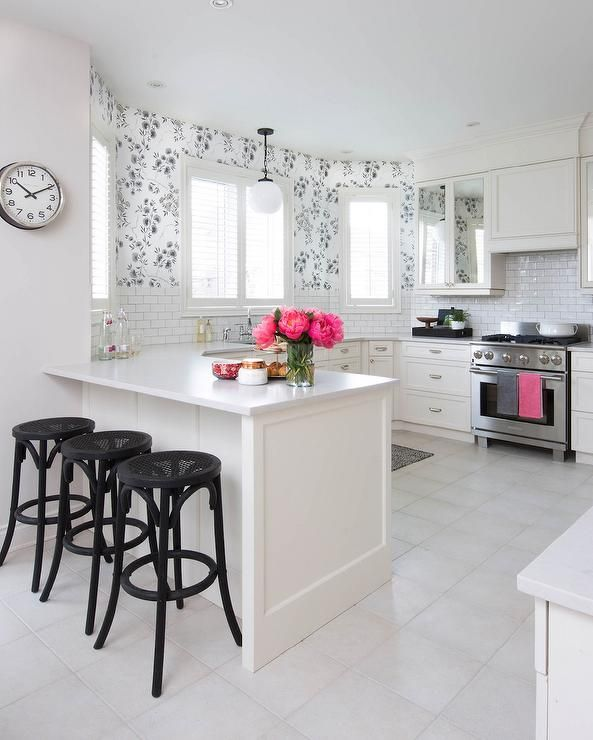 Black And White Kitchen With Pink Accents Transitional Kitchen