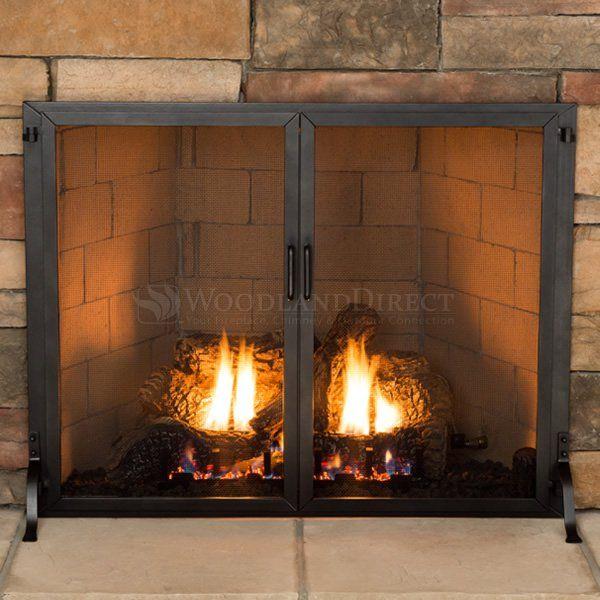Classic Fireplace Screen W Doors 38 X 30 In 2020 Fireplace Screens With Doors Glass Fireplace Stainless Steel Fireplace