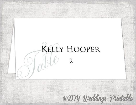Printable Place cards template -Elegant Silver gray DIY wedding - place card template
